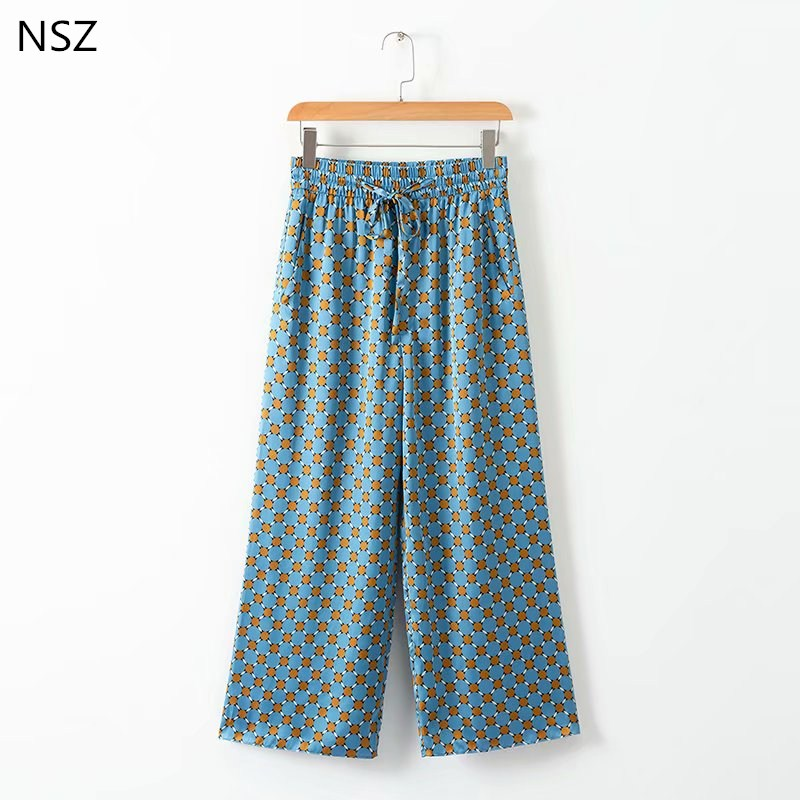 NSZ Women Print   Wide     Leg     Pant   Loose Casual Elastic Waist Calf-Length   Pants