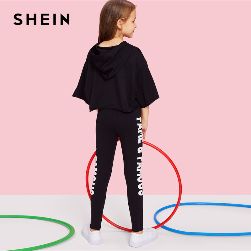 Image 2 - SHEIN Black Letter Print Hooded Top And Pants Set Girls Clothes 2019 Spring Fashion Active Wear Half Sleeve Kids Clothing-in Clothing Sets from Mother & Kids