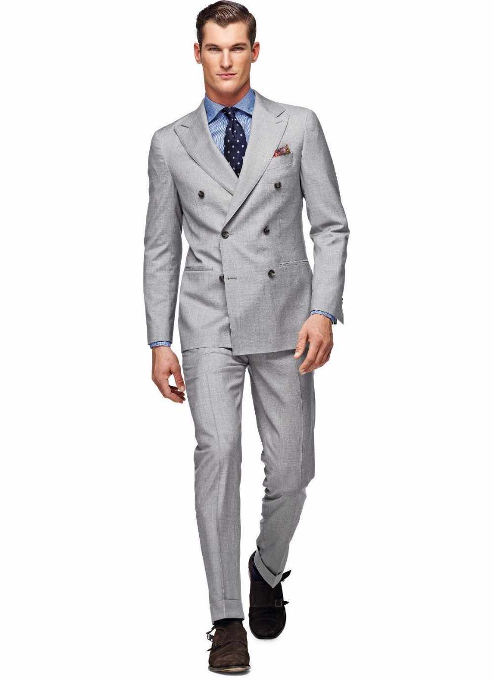 Peaked Lapel Breasted Suits Light Gray Fashion Tuxedos Blazer Men (Jacket+Pants+Tie+Handkerchiefs)Custome Homme Terno Masculino