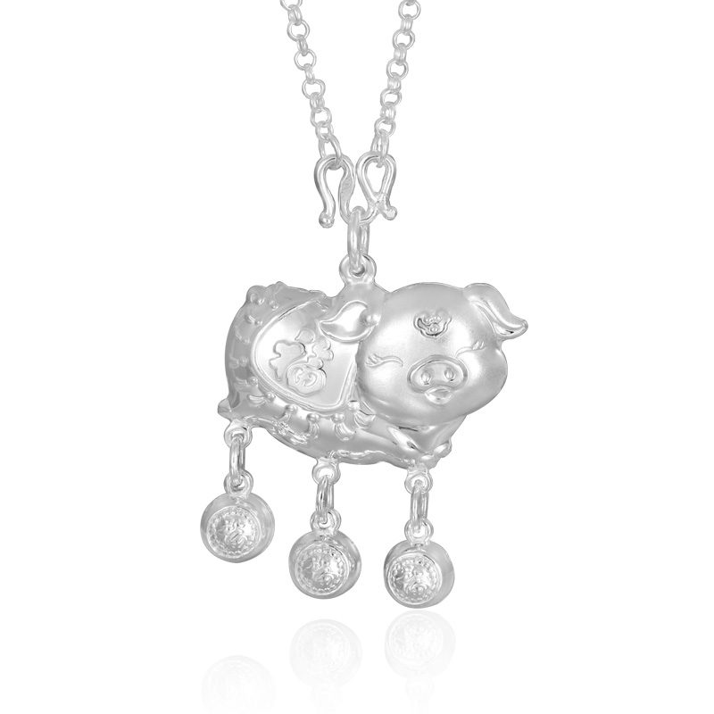 New Arrival Pure Silver Necklace Pendant Children Cute Pig Necklace Pendant New Arrival Pure Silver Necklace Pendant Children Cute Pig Necklace Pendant