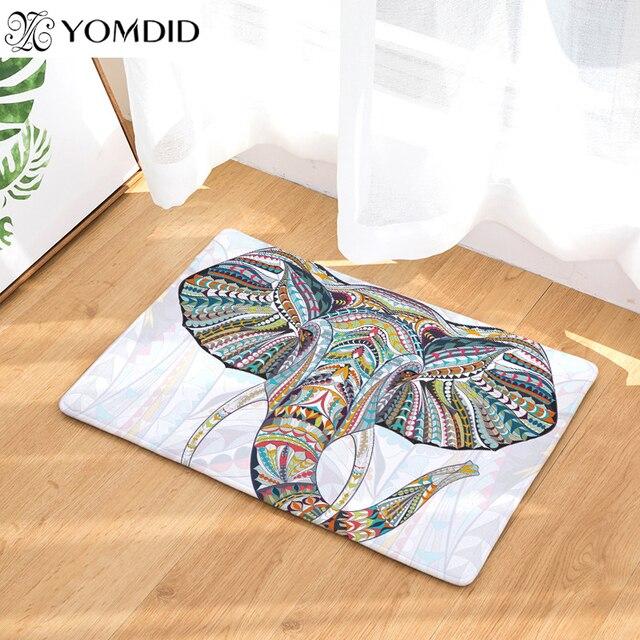 Elephant Printing Mats Carpet Anti Slip Floor Mat Outdoor Kitchen Rugs Mat  Family Water Absorption