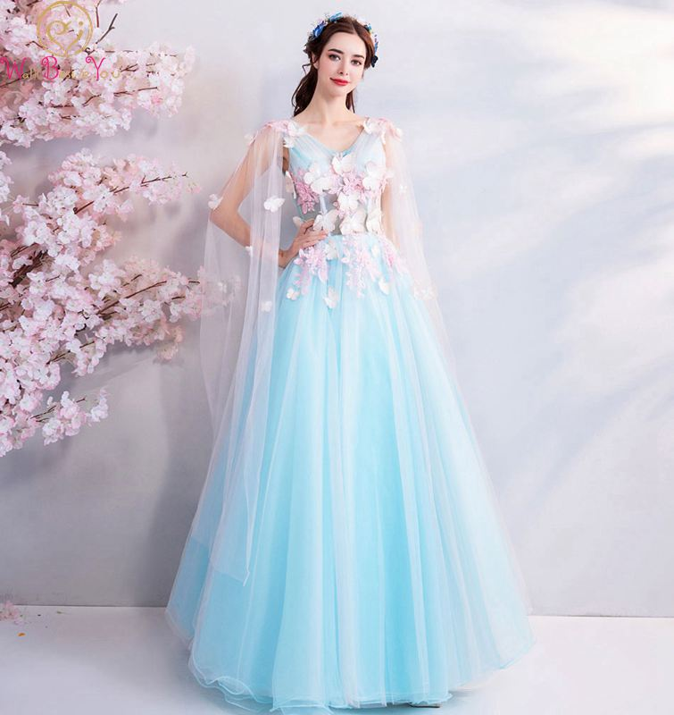 Illusion Prom Gown 2019 New Floor Length Tulle Transparent Sleeve V neck Lace up Back A
