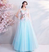 Illusion Prom Gown 2019 New Floor Length Tulle Transparent Sleeve V-neck Lace-up Back A-line Appliques Illusion Top Evening Gown illusion neck lace trim scallop top