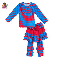 Factory Selling Baby Girl Clothes Dot Striped Pullover Skirt Design Flower Deco Ruffle Pants Baby 3 PCS Clothing Set F041