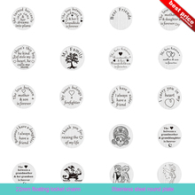 2017 New Fashion Round Floating Locket Charms Stainless Steel Floating Locket Plate Charms For Jewelry Making Free Shipping