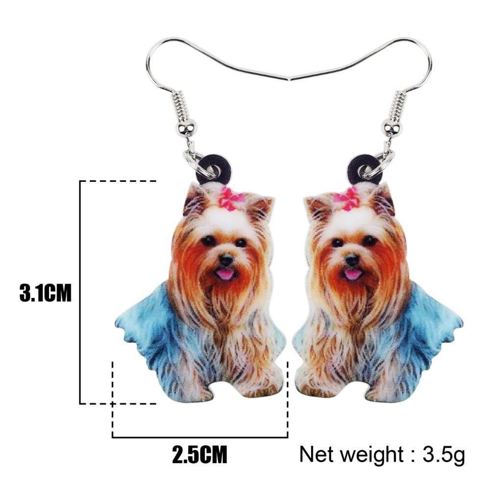 Bonsny капли акриловые милые Shih Tzu собаки серьги большие длинные висячие украшения со стразами в виде животных подходит для женщин, девушек и девочек. Аксессуары для домашних животных