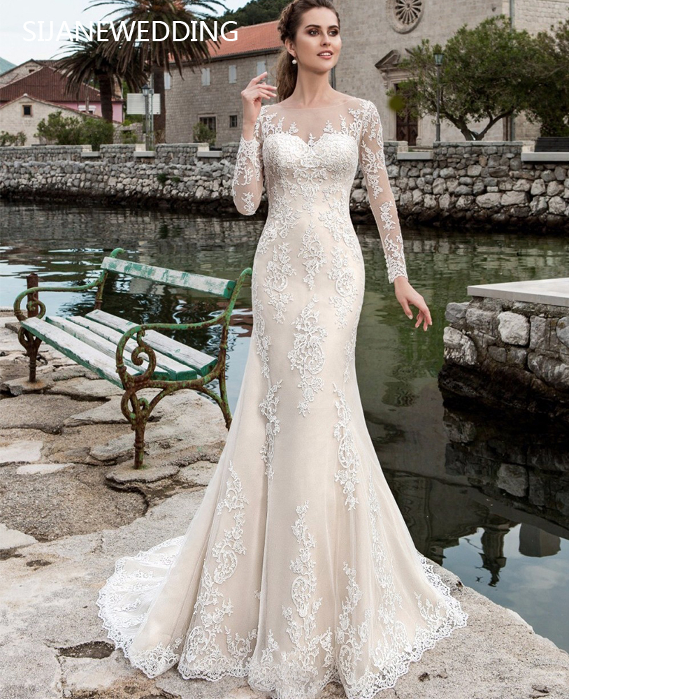 366904b489fdd38 SIJANE кружево Русалка Свадебные платья с длинным рукавом халат де mariée  See Through пикантные 0730