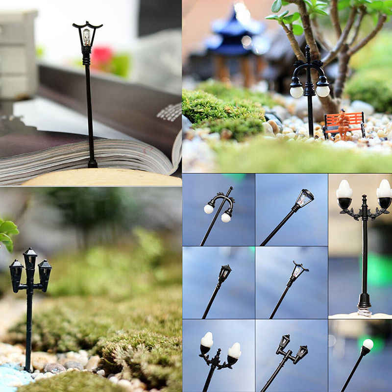 1Pcs miniaturen mini straße lampe fee moos terrarien desktop flasche garten harz handwerk Dekoration Für Haus und garten