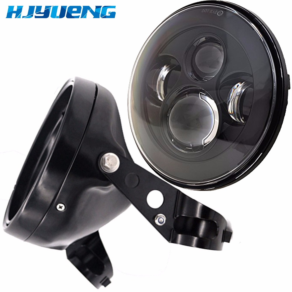 For Harley Chopper Cafe Racer Bobber Curisers Round 7inch H4 Motorcycle Headlight 7inch Led Headlamp Housing Bracket Accessories все цены
