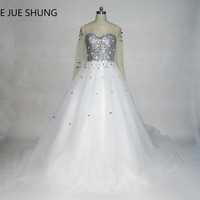 Vestido De Novia White Tulle Silver Sequin Crystals Long Sleeves Wedding Dresses Ball Gown Lace Up