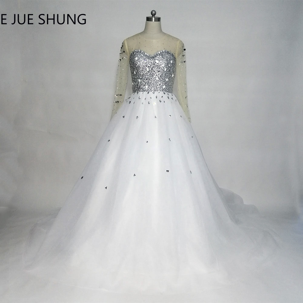 E JUE SHUNG White Tulle Silver Sequin Crystals Long Sleeves Wedding Dresses Ball Gown Lace Up Back Wedding Gowns
