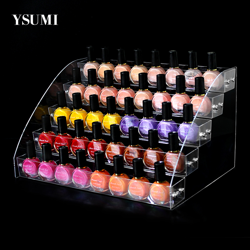 4-5 Tiers Ladder Transparent Nail Polish Display Stand/Nail Salon Display Equipment/Table Nail Polish Bottle Holder Stand YSUMI