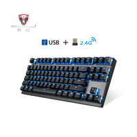 Motospeed GK82 Type C 2.4G Wireless/Wired Mechanical Gaming Keyboard 87Key Red Switch Rechargeable RGB Backlight for PC Laptop