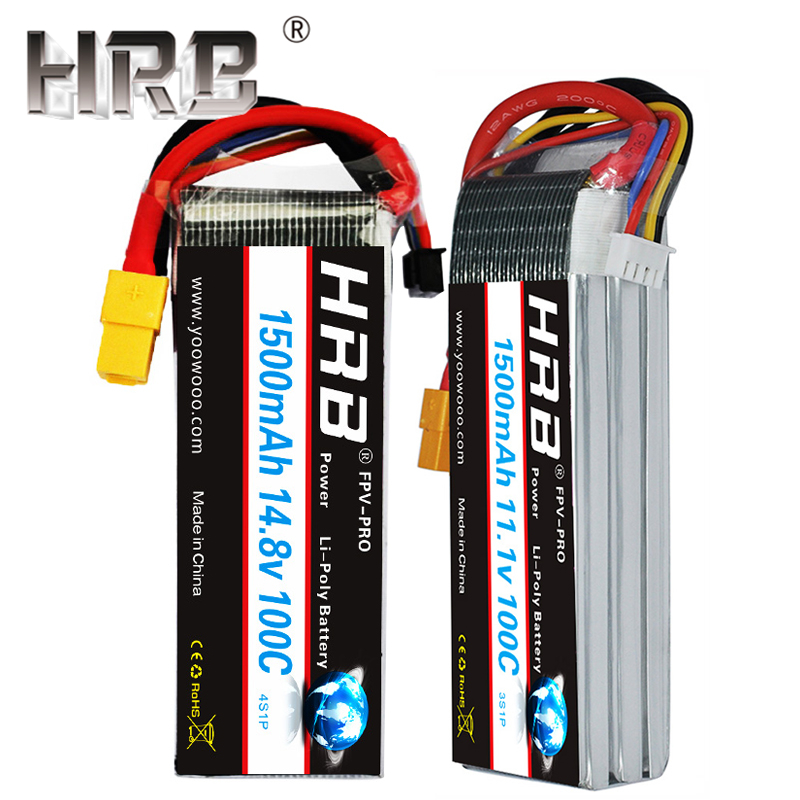 HRB <font><b>1500mAh</b></font> <font><b>100C</b></font> <font><b>Lipo</b></font> Battery 2S 3S 7.4V 11.1V T Deans XT60 14.8V 18.5V 22.2V 1S 3.7V <font><b>4S</b></font> 5S 6S For Airplane Cars RC Parts Female image