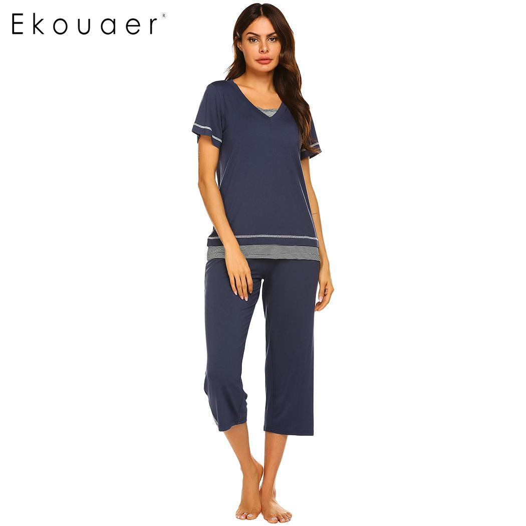 Ekouaer Women Pajamas Set Sleepwear Striped Patchw