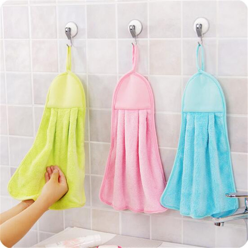 Smart Clean Hearting Coral Fleece Children's Hanging Bath Towel Hand Towels 2018 Solid Baby 3pcs/lot Towels Soft Birthday Gifts Kids