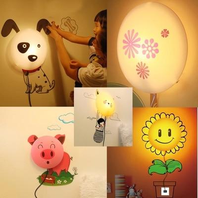 Creativo moderno DIY extraíble 3D etiqueta de la pared LED Nightlight Wallpaper lámpara de pared para niños girasol dálmata Pink Pig salida