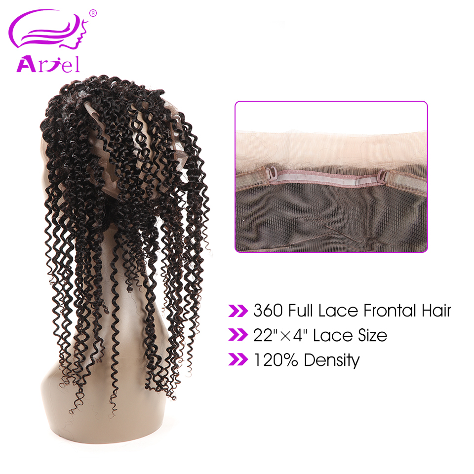 Human Hair Weaves Ariel Brazilian Curly Hair 360 Lace Frontal Natural Color Non Remy Human Hair 360 Frontal