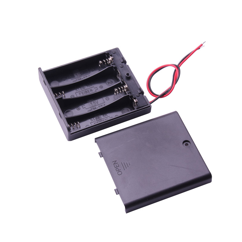 Glyduino Multi-Slot AA Size 4 Battery Clip Hard Base Case Holder With Wire Leads DIY And Battery Cover