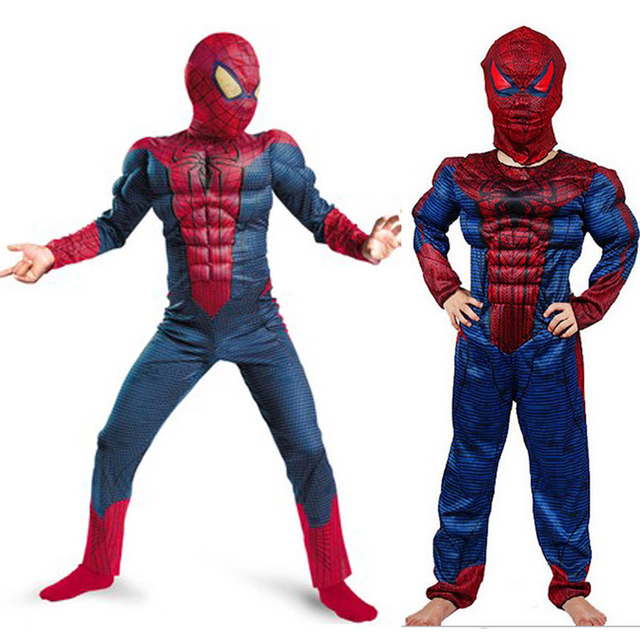 Children Child Muscle Avenger Spiderman Costume Kid Clothing Mask Birthday Party Gift For 4 14 Years Old