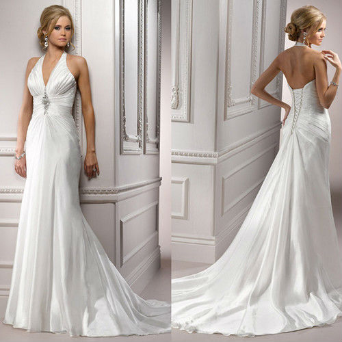 Halter Top Casual Floor Length White Beaded Brooch Long