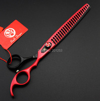 8 0Inch Professional Pet Grooming Thinning Scissors Beauty Big Shears JP440C Red And Black Color Paint