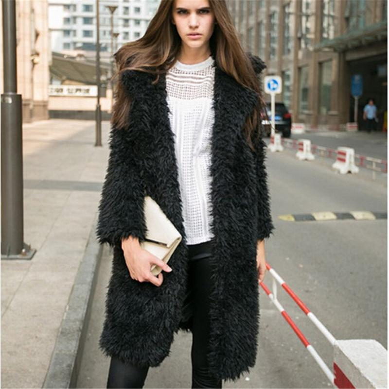 HOT sale!2017 new winter Women plus size faux fur coat Black/Pink/Grey long sleeve Thicken jacket fausse manteau fourrure femme