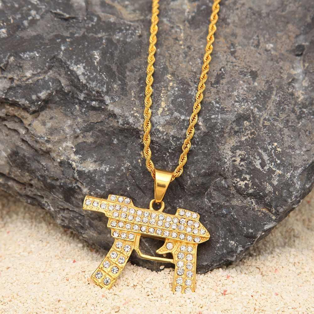 TBTK Custom Gold Necklace Gun Shape Pendant Hiphop Submachine Druzy Long Chain Necklaces Rock Charm Rhinestones Pendant Necklace