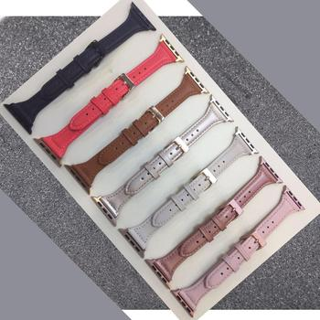 Leather Bands Compatible Apple Watch Band 38mm 40mm 42mm 44mm Slim Replacement Wristband Sport Strap for Iwatch, Series 4 3 2 1