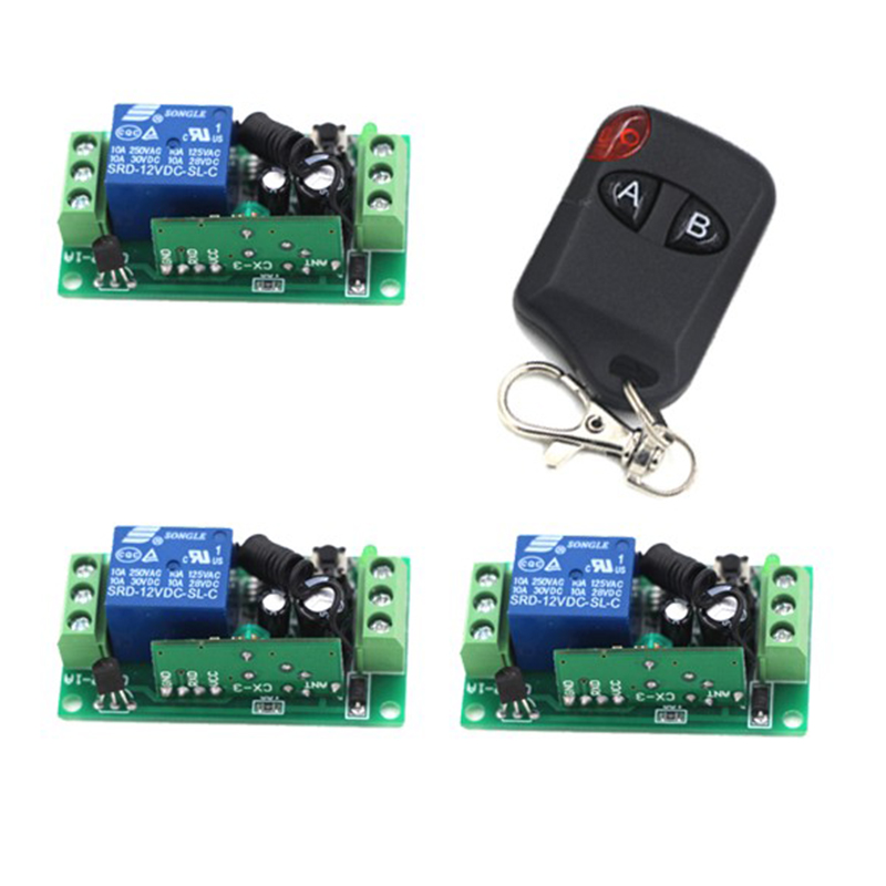 DC 12v 10A relay 1CH wireless RF Remote Control Switch Radio Switch 1 Transmitter and 3 Receiver 4191 dc 12v 24v wireless remote control switch system remote controller rf radio control switch 1ch 10a relay receiver transmitter
