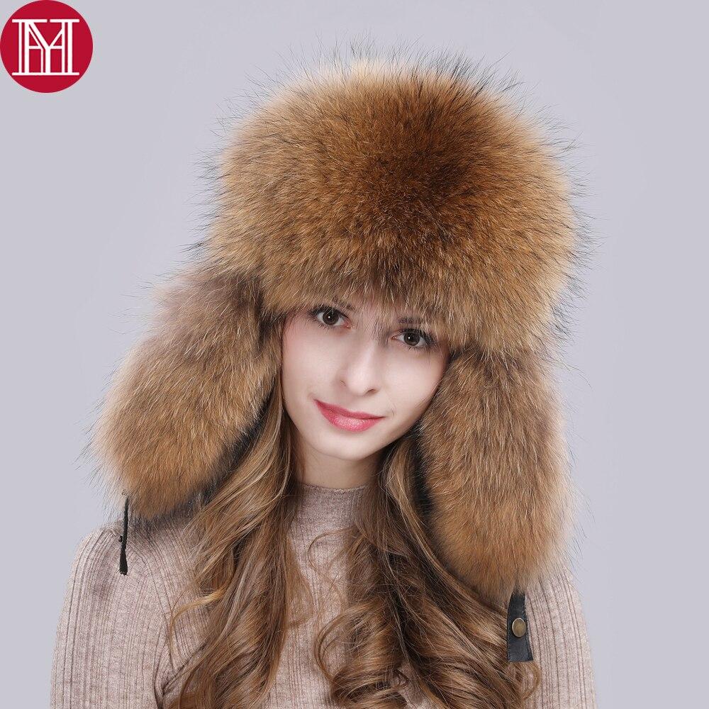 Hat Russian Cap Raccoon-Fur Bombers Winter Real Luxury Unisex Warm Real-Sheepskin Soft-Quality