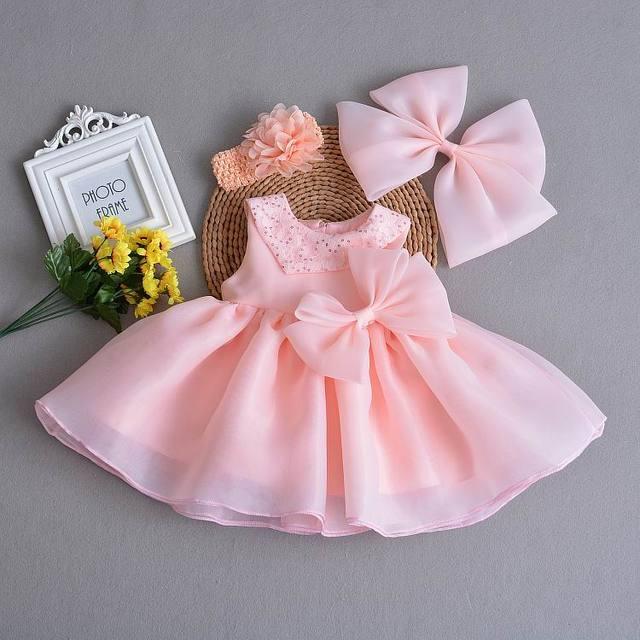Bébé fille robe de baptême infantile filles princesse Organza sans manches robe de baptême enfant en bas âge bébé vêtements E202