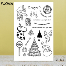 AZSG Merry Christmas Santa Claus Socks Tree Clear Stamps For DIY Scrapbooking/Card Making/Album Decorative Silicon Stamp Craft
