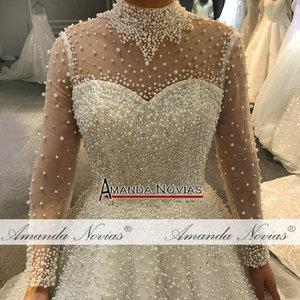 Image 2 - 2019 vestito da cerimonia nuziale pieno di perle di lusso della principessa abito da sposa reale di lavoro 100% di alta qualità