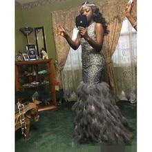 2020 brillant luxe perlé plume argent sirène robes de soirée fête Pageant robes gris Nigeria arabe Occasion robes