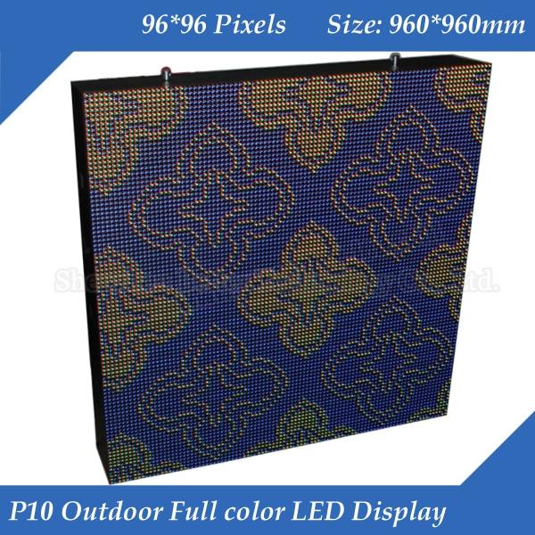6pcs/lot 96*96 Pixels 960*960mm Waterproof Cabinet High Brightness 8000CD/M2 RGB DIP Full Color P10 LED Display Screen