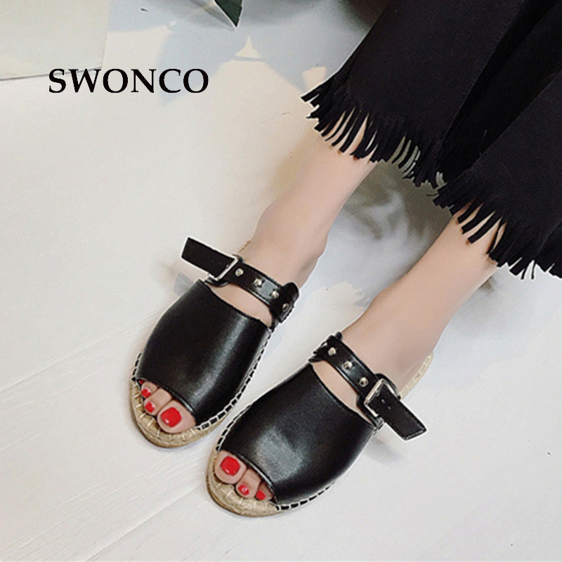 SWONCO Women's Slippers 2018 Summer Bohemia Woven Shoes Slippers Women Flat Fashion Buckle Fisherman Shoes Woman Beach Shoe swonco women s slippers half shoes candy color breathable female slipper 2018 woman slippers summer sandals ladies beach shoes