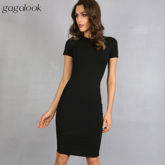 Gagalook 2016 Brand Summer Dress Women Black Robe Sexy Bodycon Office Midi Party Dresses Vestidos D0746