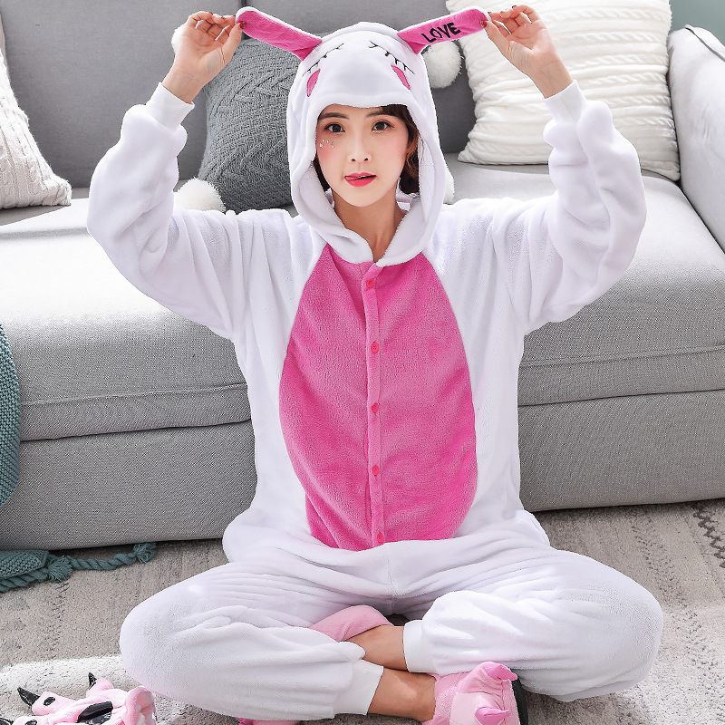 Funny Animal Love Rabbit Onesie Kigurumi Jumpsuit For Adult Pajamas Women For Sleepwear Men Bunny Pyjamas Cosplay Party (2)