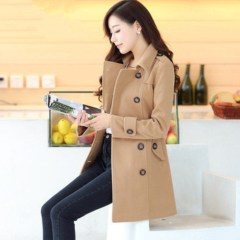 Abrigos Mujer Woolen Outerwear Coat 2016 New Arrival Spring Autumn Female Double Breasted Overcoat Slim Belt Jacket ZL3461