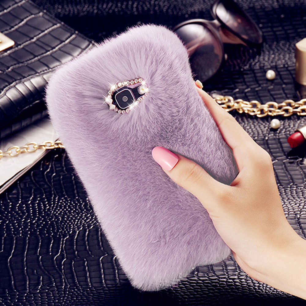 Cute Fur Fluffy Phone Case For Samsung Galaxy S7 edge S10e S9 Plus Luxury Diamond Back Shell For Samsung S10 S8 Protective Cover image
