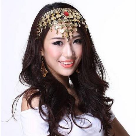 NEW! Stones Belly Dance Accessories Senior Red Stones Gold Coins Belly Dance Headwear For Women Dance Headwear