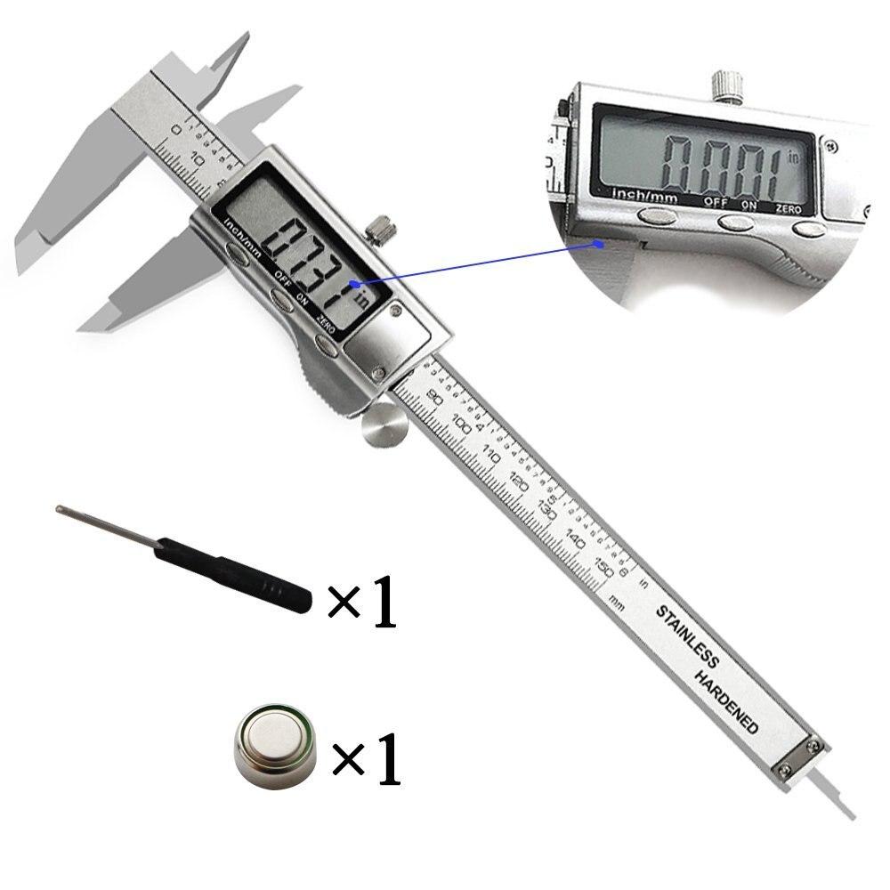 Negro 4 pulgadas LCD Digital Micr/ómetro electr/ónico de calibre de vernier de fibra de carbono de 100 mm Limita