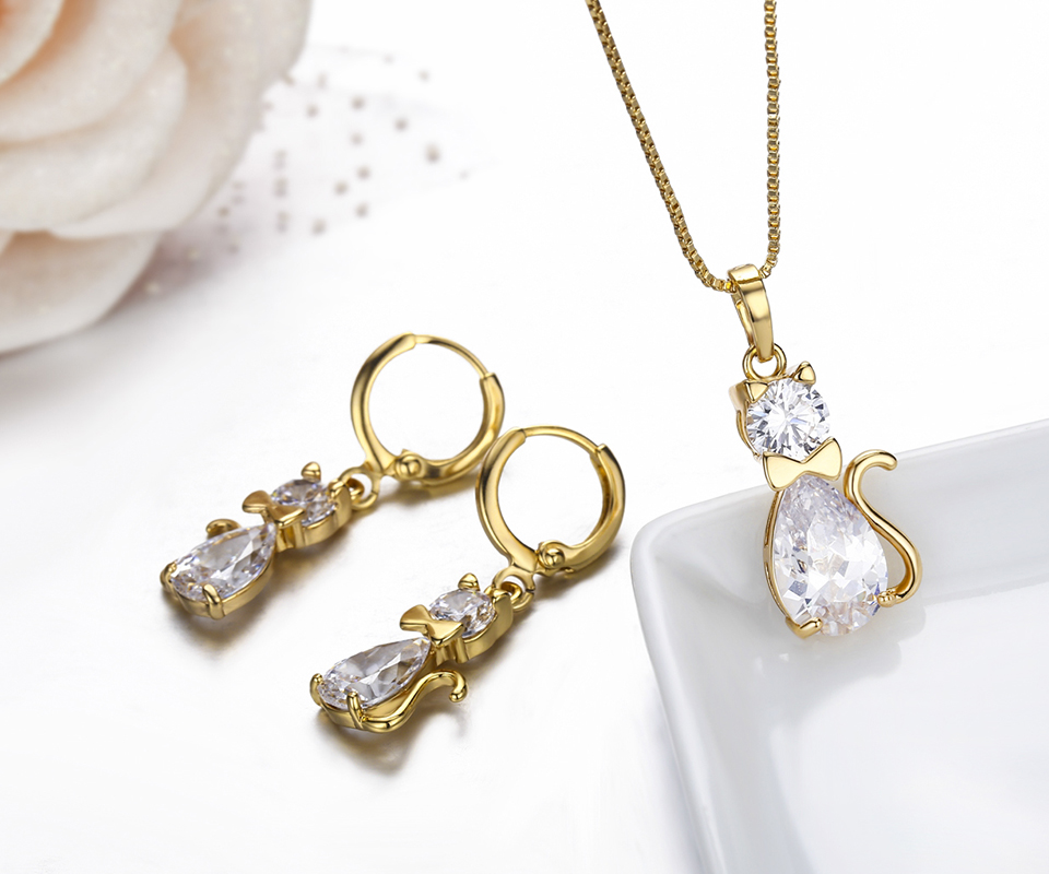 Kitty cat pendant necklace drop earrings jewelry set for for Drop shipping jewelry business