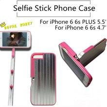 Luxury Retractable Aluminum Bluetooth Handheld Selfie Stick Phone Case for iphone 6 6s Plus with Holder