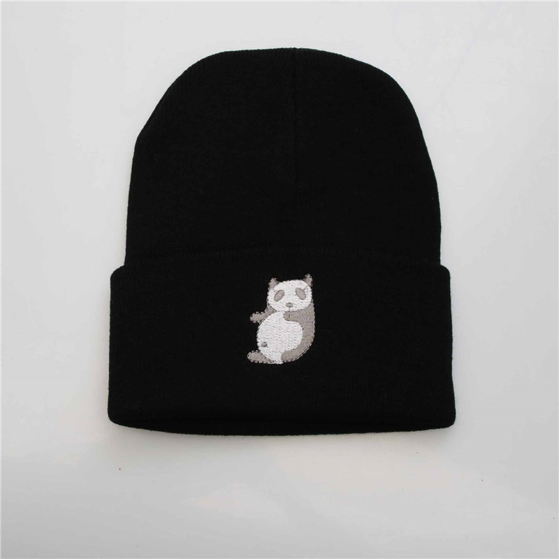 Winter Beanies Solid Color China Panda Hat Unisex Warm Soft Beanie Knit Cap Hats Knitted Touca Gorro Caps For Men Women new winter beanies solid color hat unisex warm grid outdoor beanie knitted cap hats knitted gorro caps for men women
