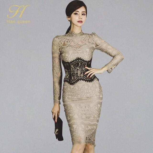 H 한 여왕 여성 우아한 섹시한 레이스 Bodycon Vestidos 2019 봄 빈 밖으로 연필 드레스를 통해 볼 패치 워크 슬림 시즈 드레스