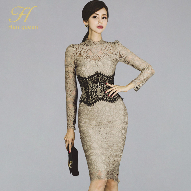 H Han Queen Women Elegant Sexy Lace Bodycon Vestidos 2019 Spring Hollow Out See Through Pencil Dress Patchwork Slim Sheath Dress
