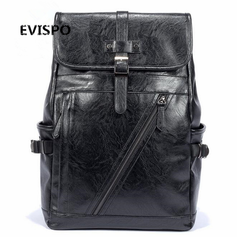 Brand Design Fashion Women and Men PU Leather Black Backpack School Bag For Girls Teenagers Lady Casual Travel Bag Laptop Bag women pu leather backpack mansur lady leather backpack girl leather school bag free shipping fashion girls bag