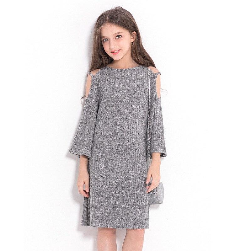 Детские платья; зимняя одежда; свободное серое платье в европейском и американском стиле для девочек; ТРАПЕЦИЕВИДНОЕ ПЛАТЬЕ с вырезом лодоч